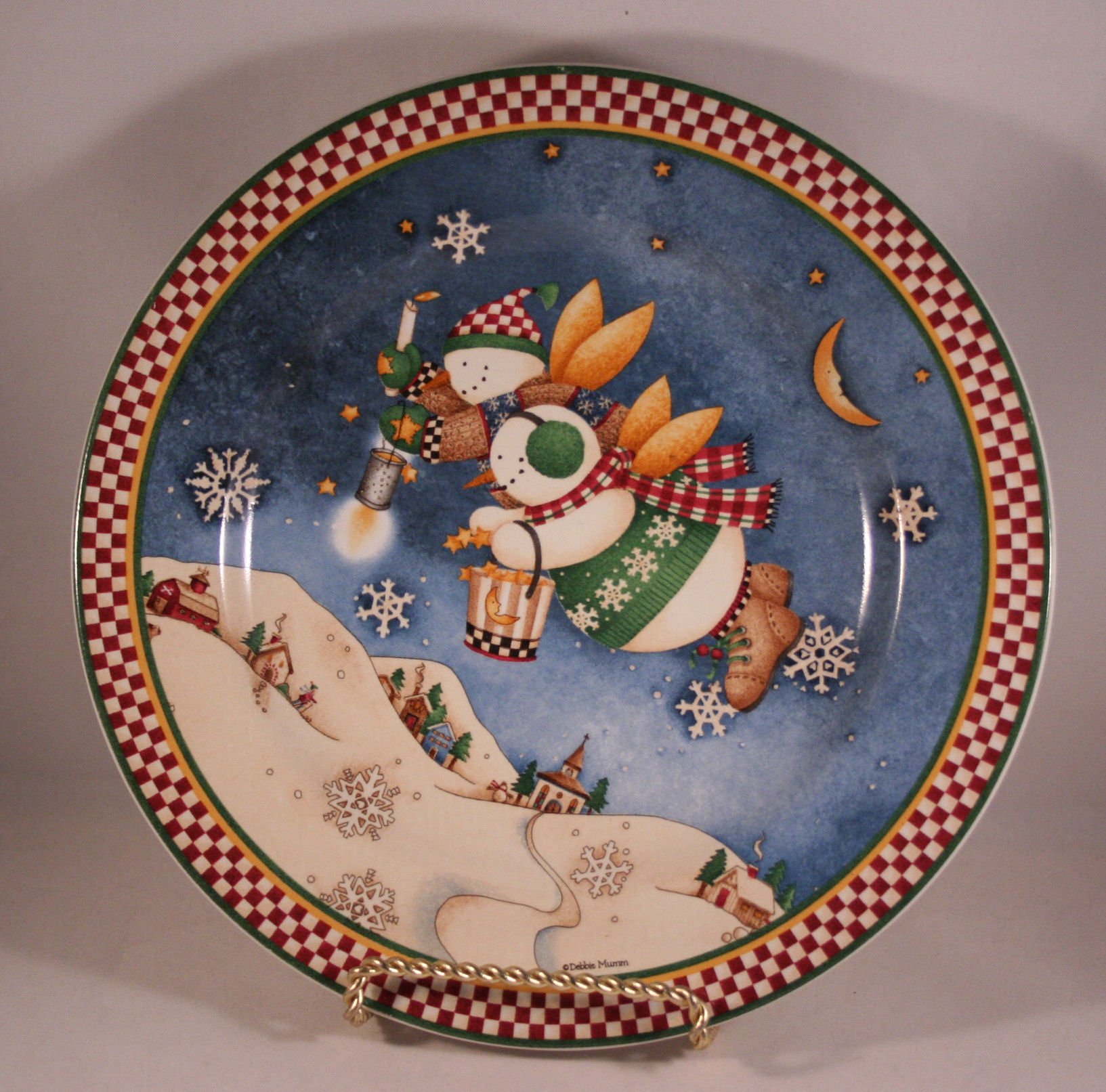 Debbie Mumm SNOW ANGEL VILLAGE Set of 4 Snowman Christmas . & Debbie Mumm Plates. Debbie Mumm Set of 4 Stoneware SNOWFLAKE Salad ...
