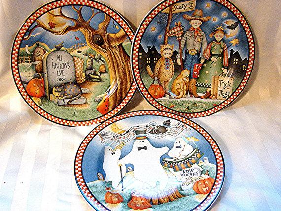 Debbie Mumm Dishes 3 Decorative Halloween Sweet Salad Plates & Debbie Mumm Plates. Debbie Mumm Snowman Dinner Plates 4 - 11 Plates.
