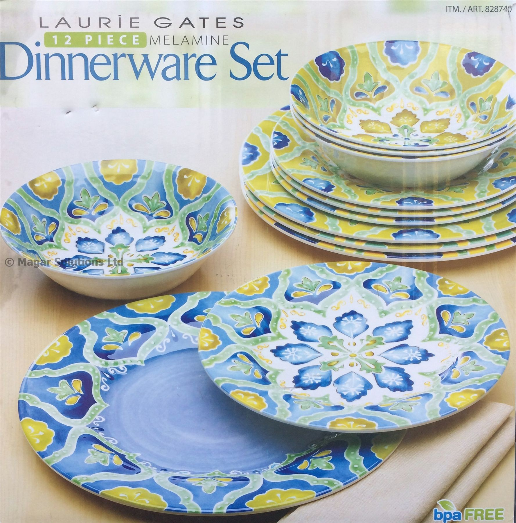 Laurie Gates 12 Parcel of the same thing COLOURED Floral Melamine Dinnerware .  sc 1 st  Plate Dish. & Laurie Gates Plates. Laurie Gates - 12 Piece Melamine Dinnerware Set.