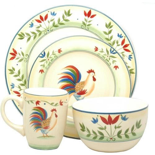 Rooster Plates Dinnerware. Certified International Rustic Rooster ...