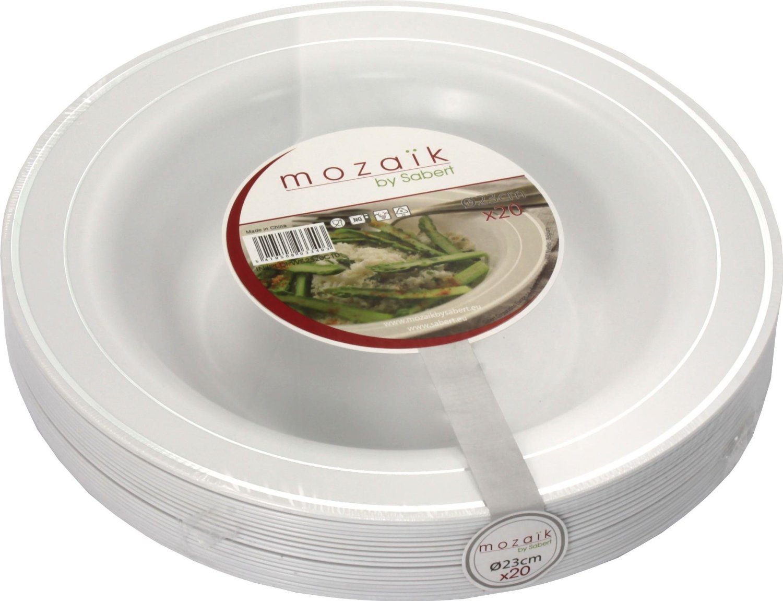 Mozaik Arcane Plastic Bowls White With Silver Rim 9 23cm .  sc 1 st  Plate Dish. & Mozaik Plastic Plates. Mozaik Premium Plastic Pearl Plate Set 40 ...