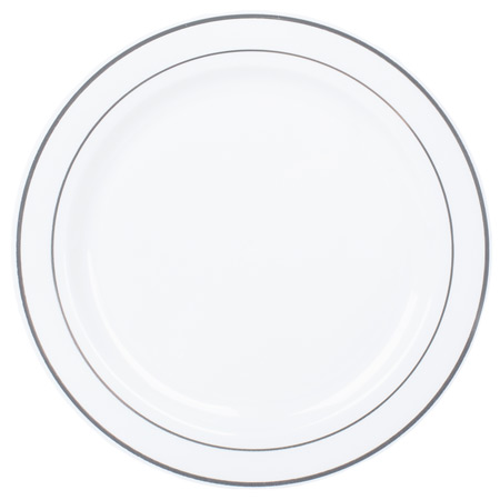Wan Silver Rim Plastic Salad Plates Replaced - Smarty .  sc 1 st  Plate Dish. & Silver Rimmed Plastic Plates. Premium Hard Plastic Silver Rimmed ...