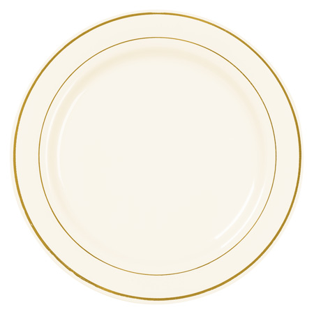 7.5  Ivory Gold Rim Plastic Salad Plates - Smarty Had A Soir  sc 1 st  Plate Dish. & Gold Plastic Plates Bulk. Elite Selection Pack of 50 Dinner ...