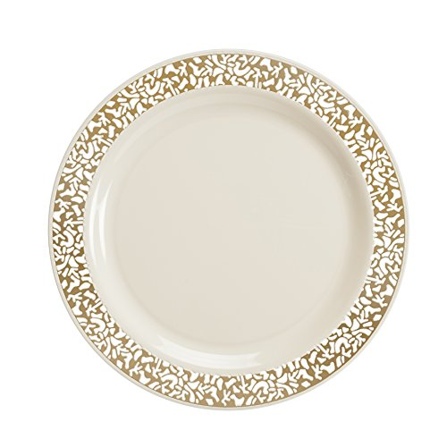 Lace Collection 40 Package Premium China Like 9 Inch Ivory .  sc 1 st  Plate Dish. & Lace Collection Plastic Plates. Party Bargains Disposable Plastic ...