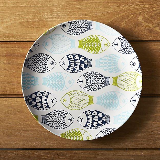 Fish 10.5\  Melamine Dinner Charger | Crate and Barrel & Melamine Fish Plates. Aquaterra Living Ecofriendly Dinner Plate Set ...