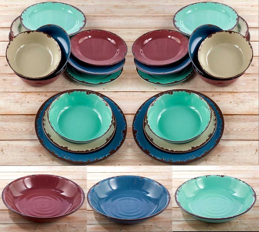 Rustic Dinnerware Rite Dishes Bowls Salad Dinner Plates . & Rustic Melamine Plates. Gibson Studio 12 Piece Mauna Melamine ...