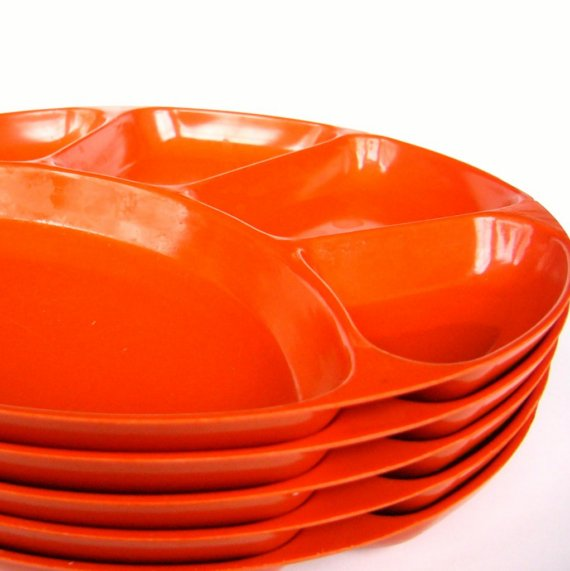 5 Orange Divided Melamine Plates By Faithandfranny On Etsy Sc 1 St Plate Dish