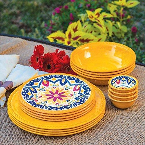 16 Man Indoor/Outdoor Melamine Dinnerware Set YELLOW by . & Outdoor Plates Melamine. Melamine Dinnerware Set - 12 Pcs Dinner ...
