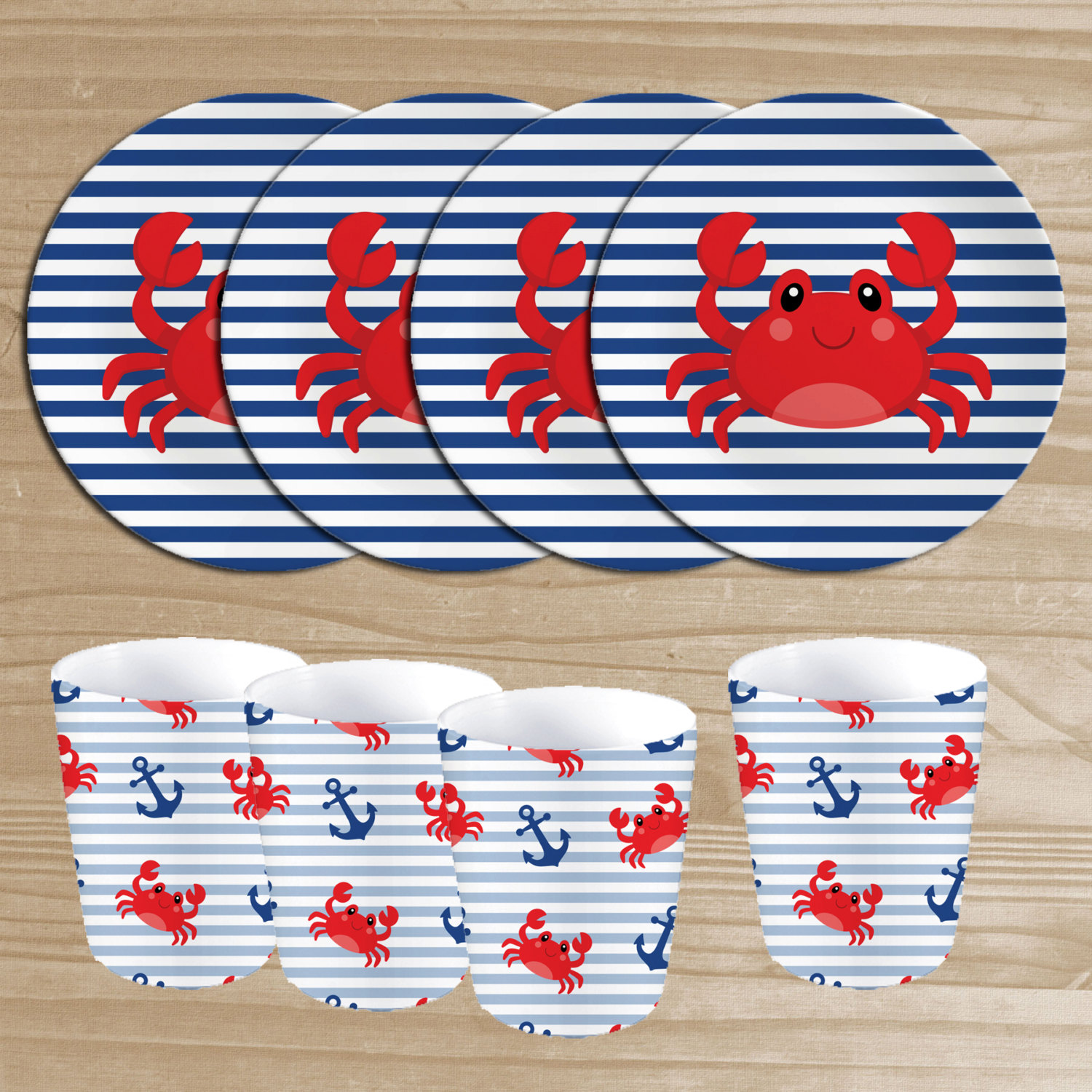 Nautical Melamine Barbecue Set Crab Plates \u0026 by ThePlayfulPlate  sc 1 st  Plate Dish. & Nautical Melamine Plates. Merritt Speckled Nautical Starfish 8.5 ...