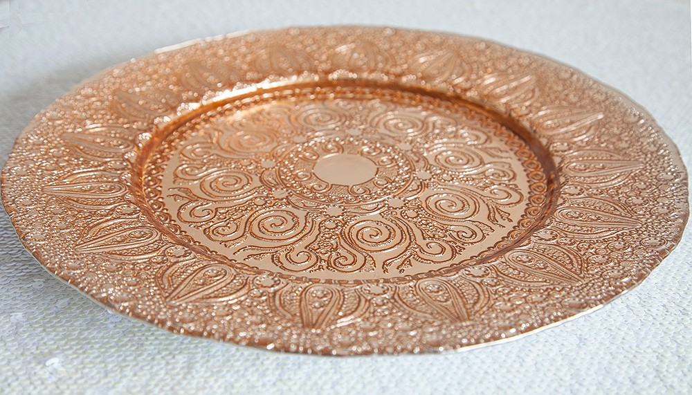 Buy Antiquated Rose Gold Glass Charger Plate - Charger Plates . & Rose Gold Charger Plate. Richland Charger Plate Round Beaded 13 ...