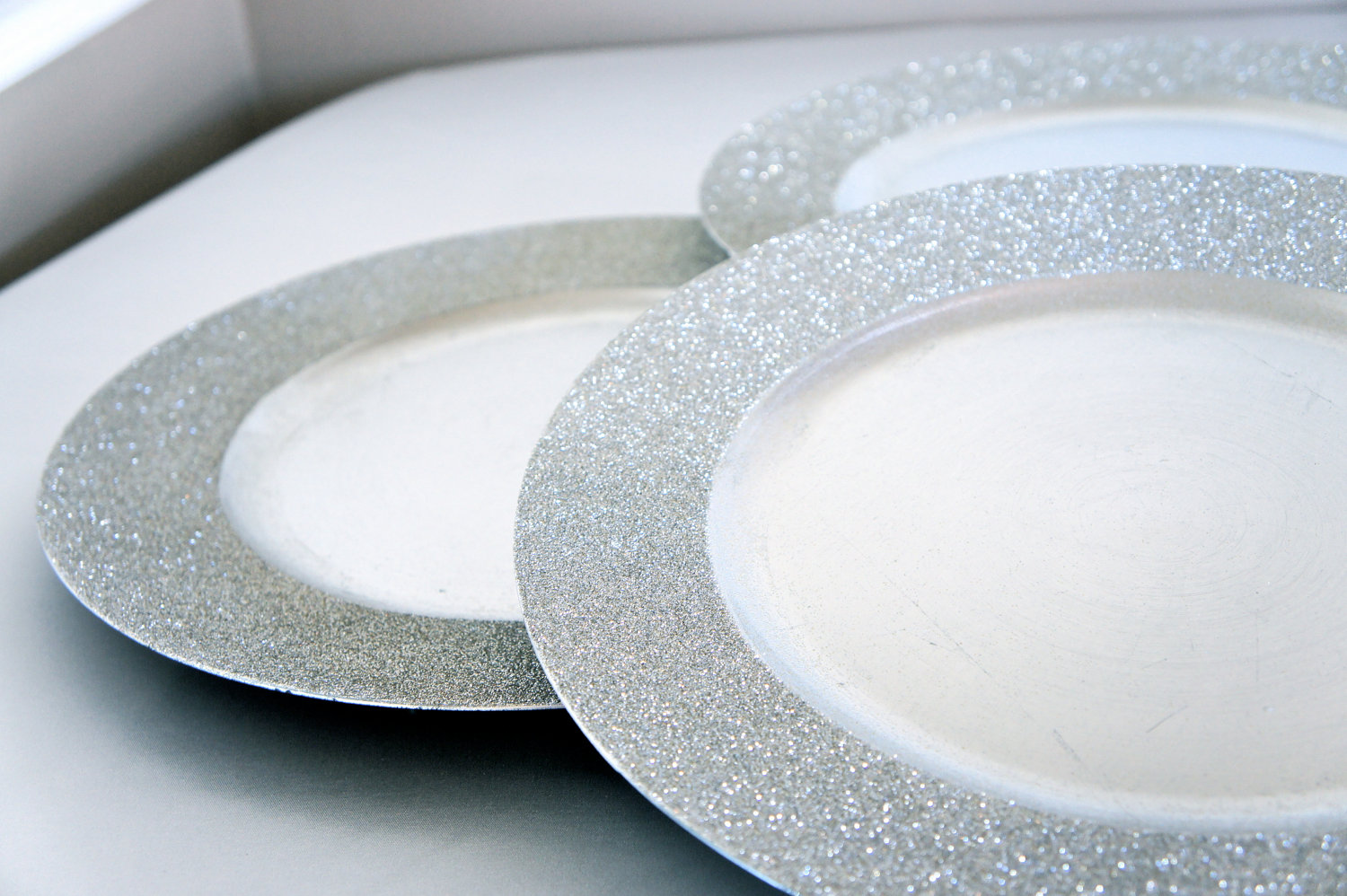 Shining Glitter Charger Sparkle wedding by CrystallizedDesign & Glitter Charger Plates. Chargeit by Jay Glitter and Stars Silver ...