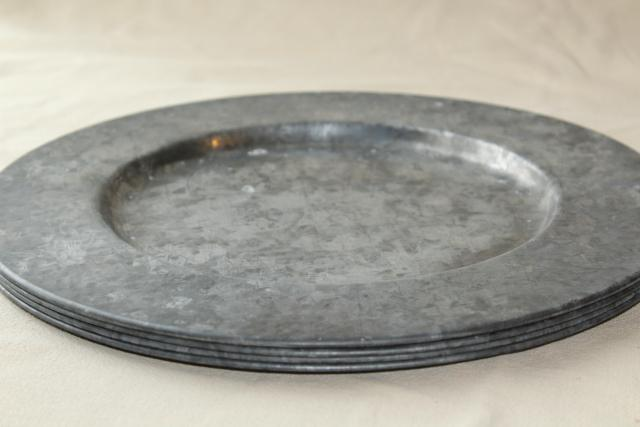 Galvanized Charger Plates Circleware 92979 Set Of 4 13 Steel