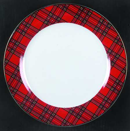 Plaid Charger Plates Mud Pie Deck The Halls Red Tartan
