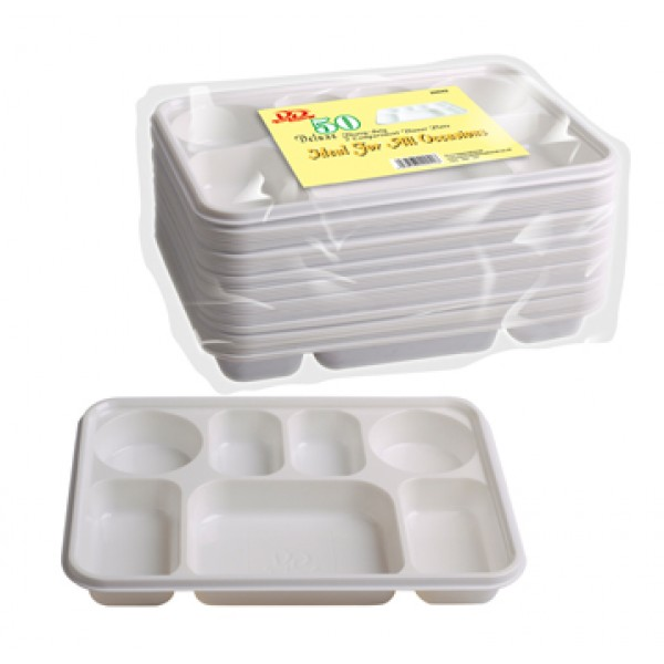 Deluxe Gloomy Duty 7 Compartment Plastic Dinner Plates - 50pc  sc 1 st  Plate Dish. & Disposable Compartment Plates. Chinet Classic 5-Compartment Fiber ...
